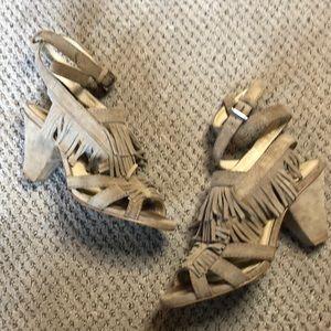 Zara Woman Taupe Suede Fringe Sandal